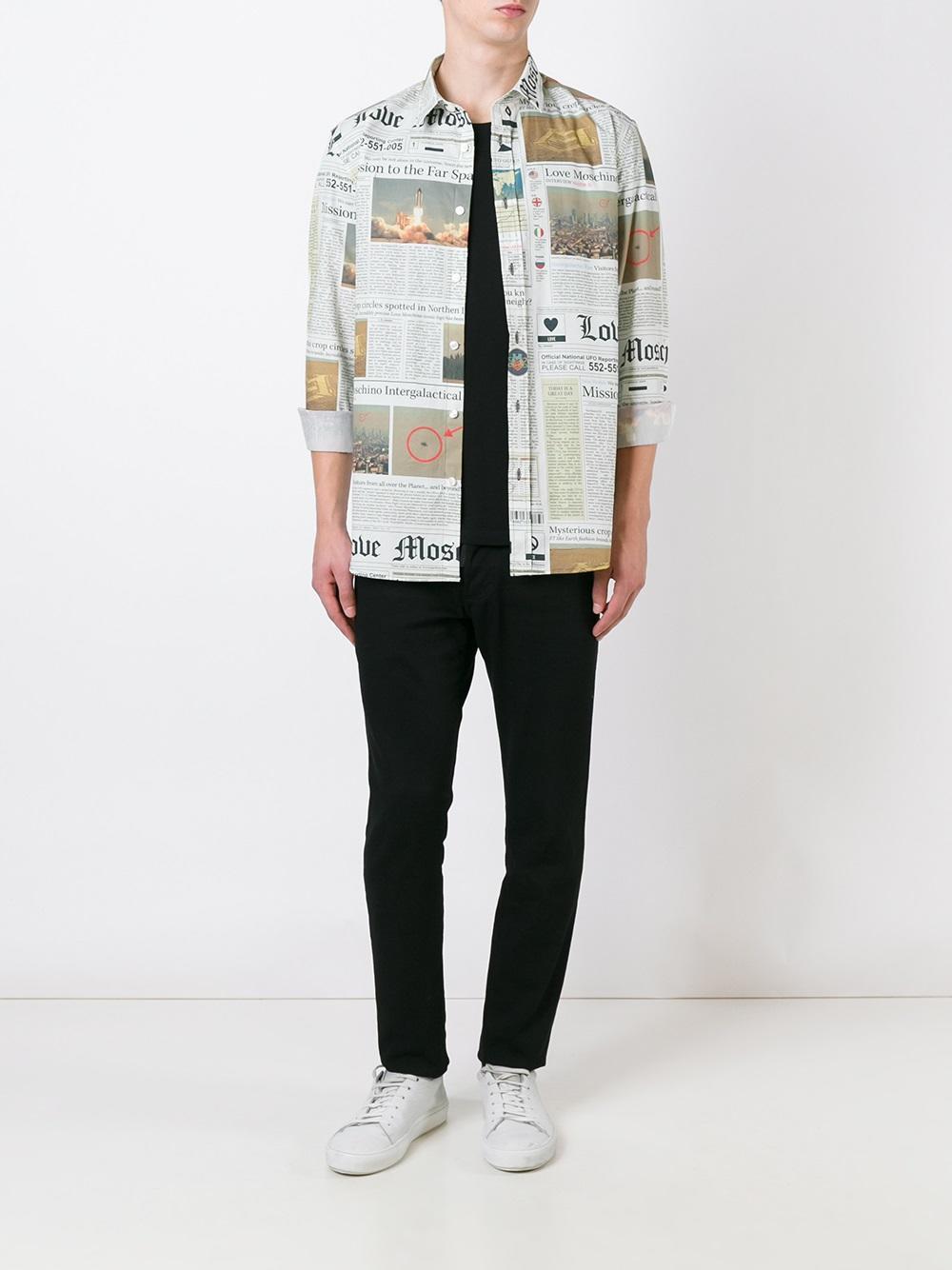 love moschino newspaper print shirt for men lyst