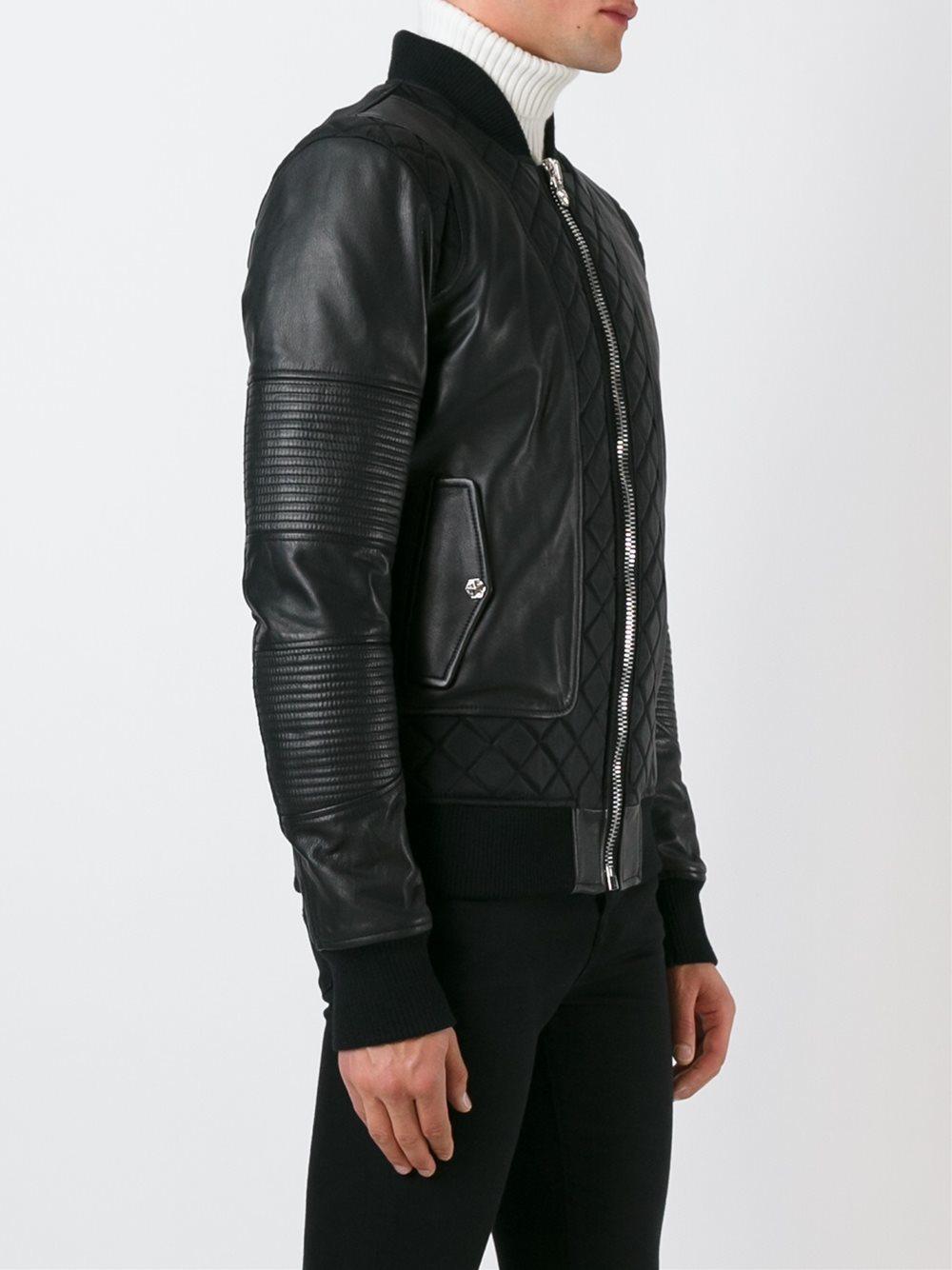 philipp plein leather bomber jacket in black for men lyst. Black Bedroom Furniture Sets. Home Design Ideas