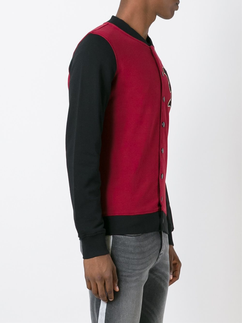 Hydrogen Cotton Varsity Style Bomber Jacket in Red (Blue) for Men