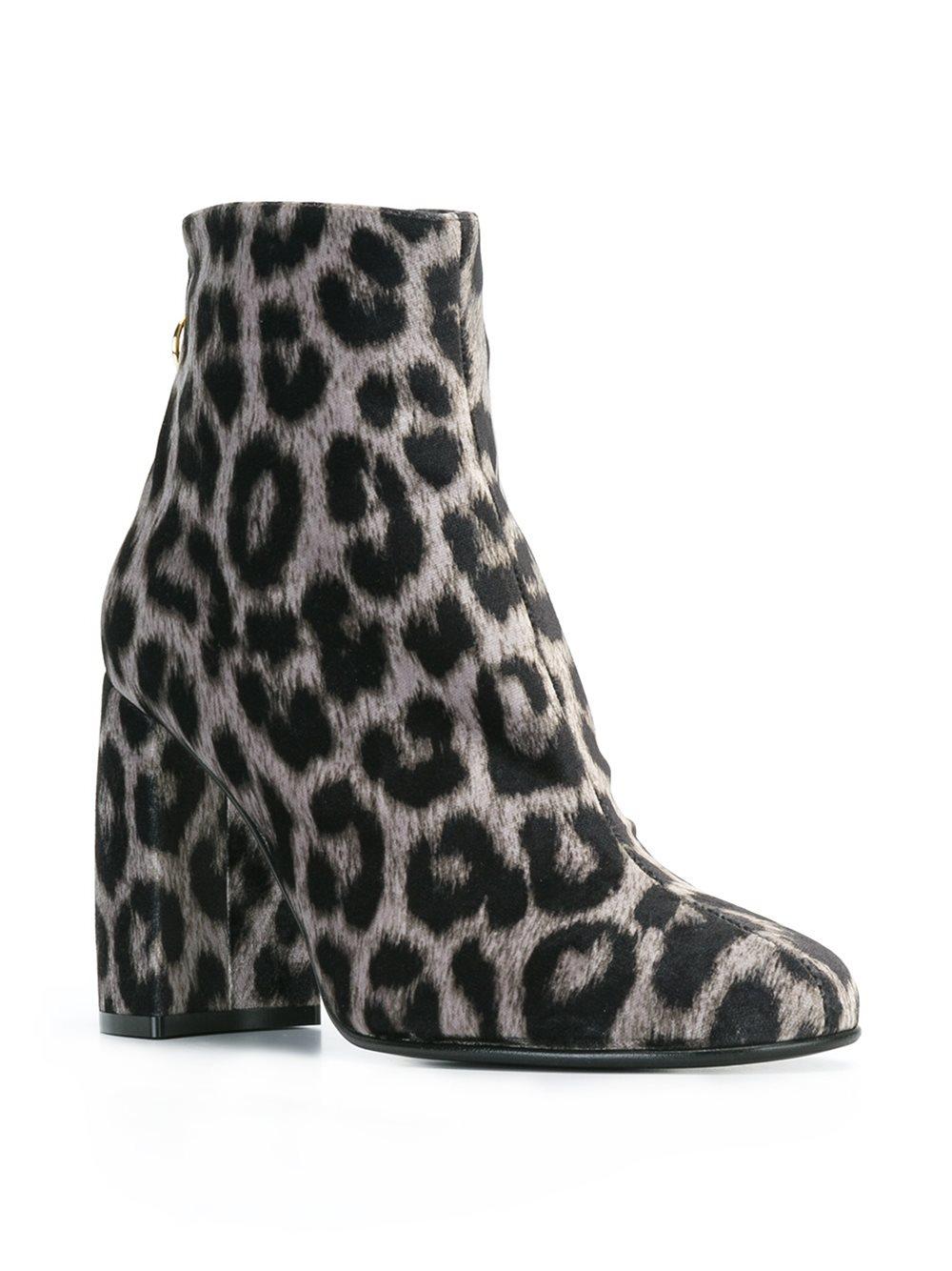 Stella McCartney Cotton Leopard Print Ankle Boots in Grey (Grey)