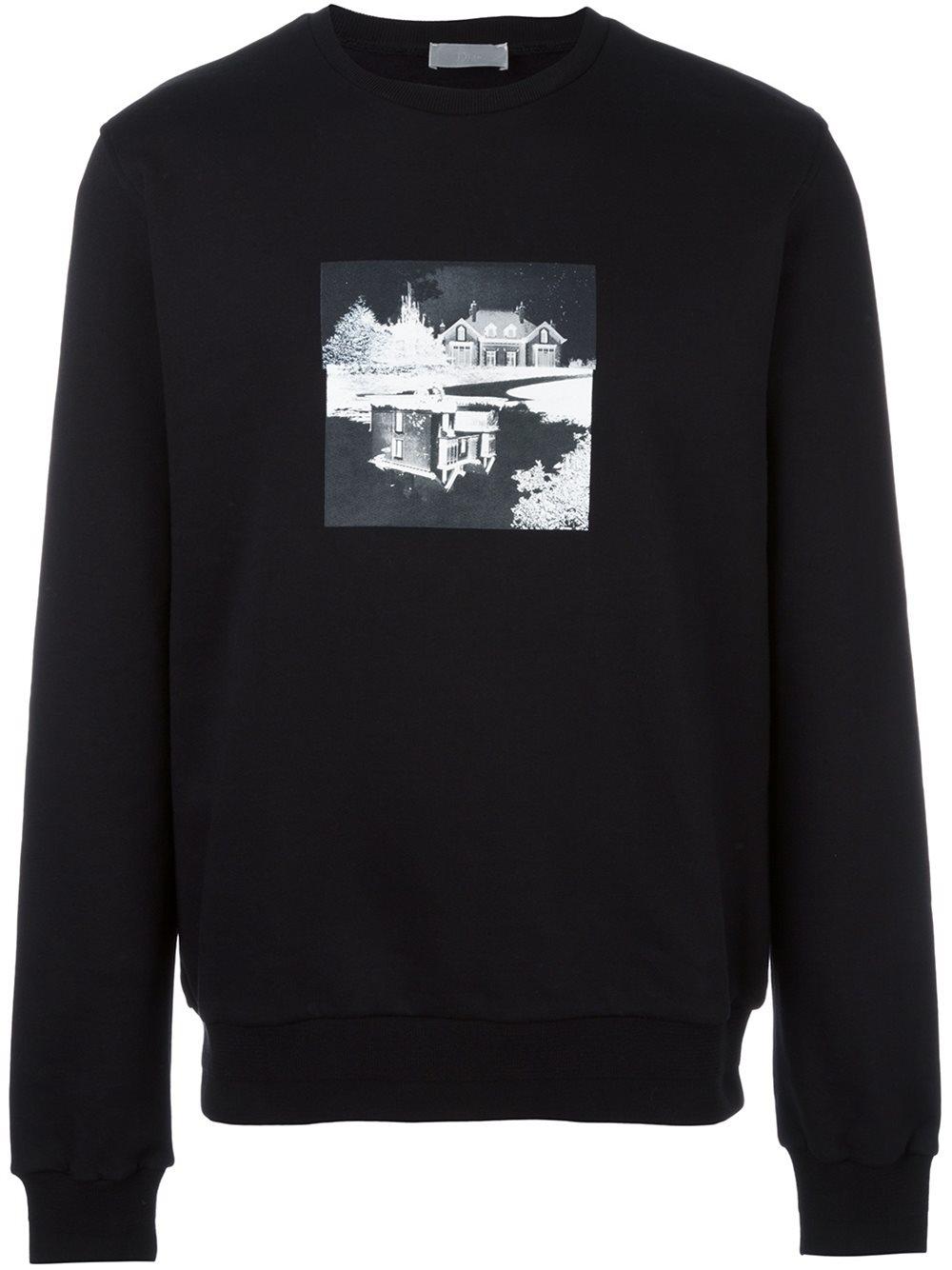 lyst dior homme house print sweatshirt in black for men. Black Bedroom Furniture Sets. Home Design Ideas