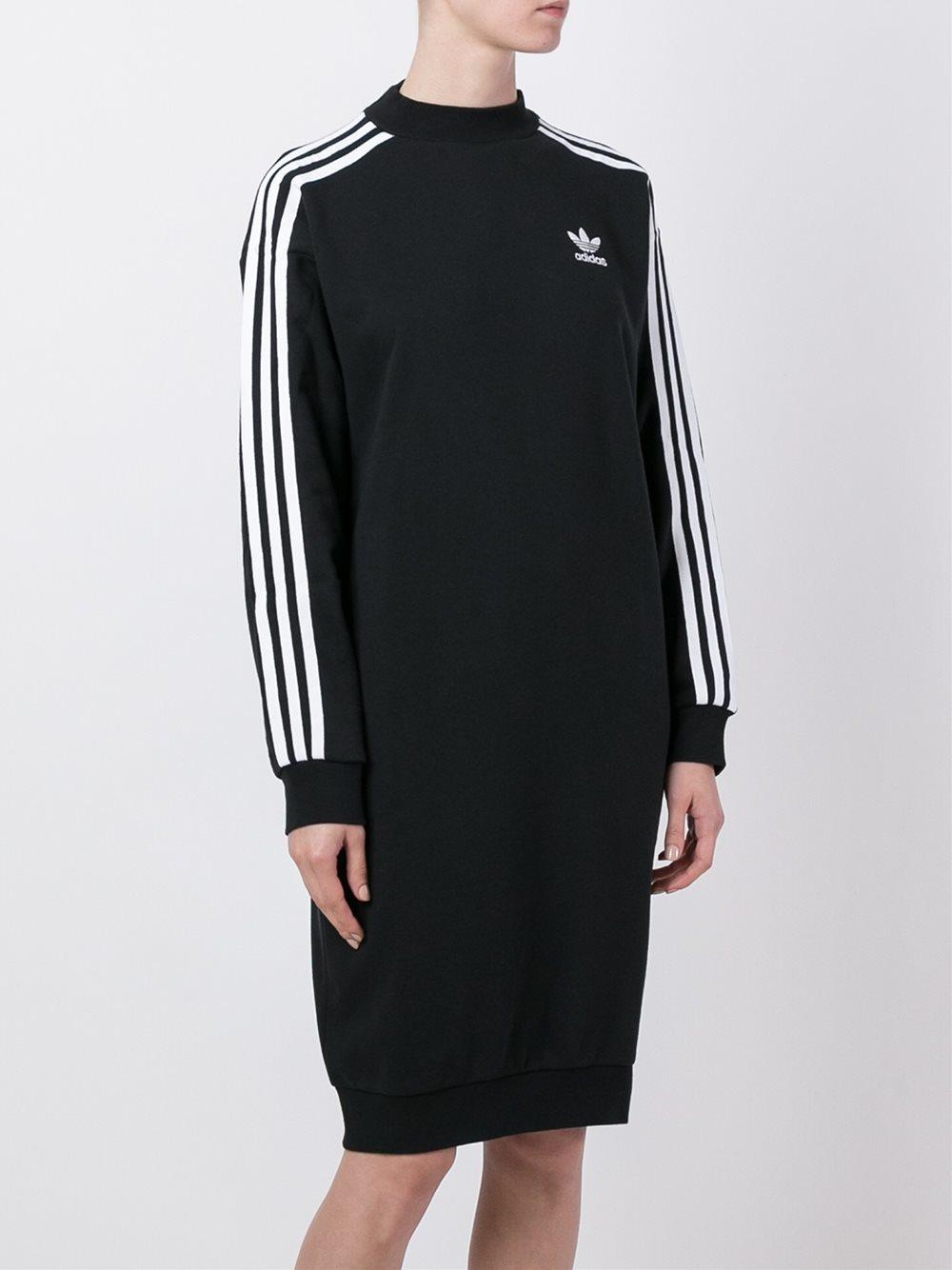 Adidas Originals Three Stripe Sweatshirt Dress In