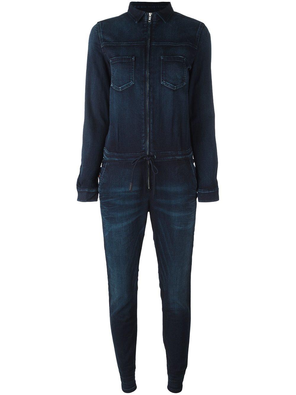 diesel denim jumpsuit in blue lyst. Black Bedroom Furniture Sets. Home Design Ideas