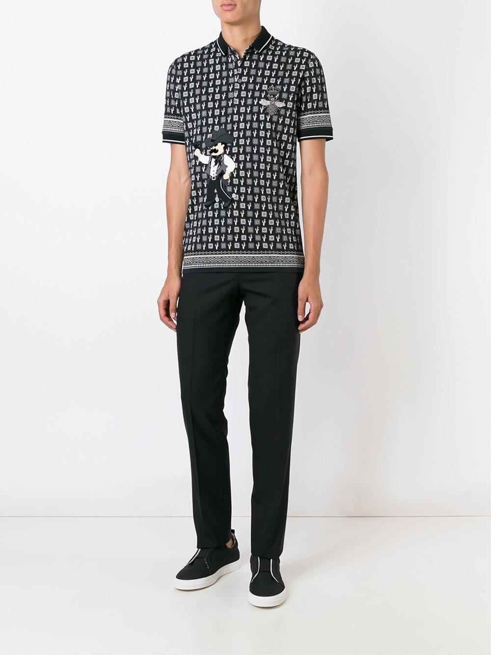 Dolce & Gabbana Cotton Cactus Print Polo Shirt in Black for Men