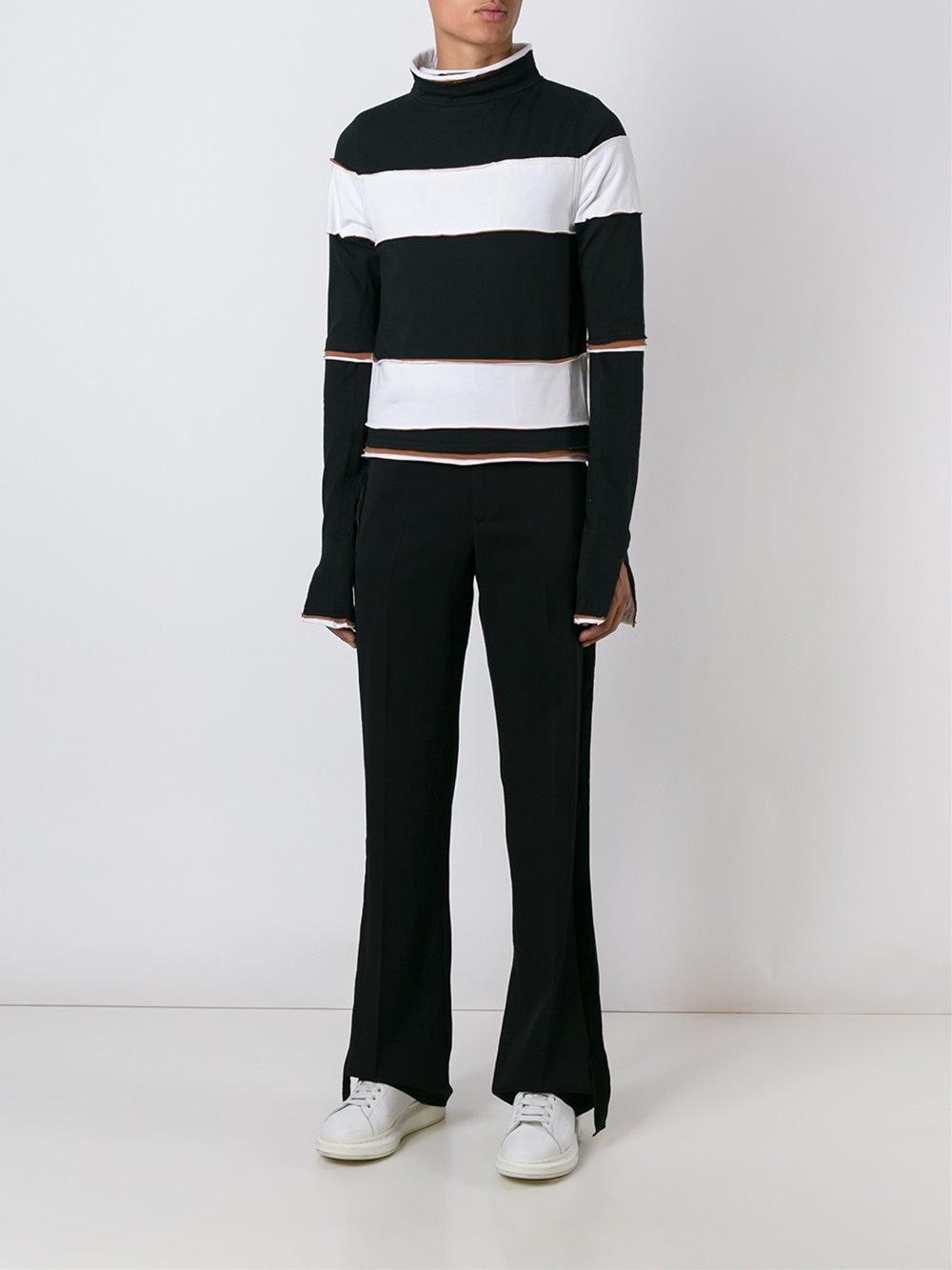 Telfar Cotton Striped Mock-neck Top in Black for Men