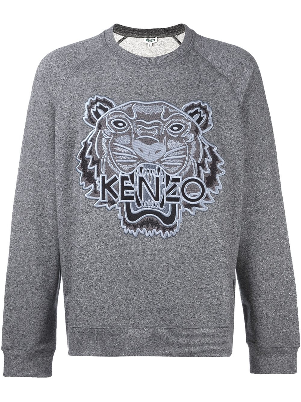 lyst kenzo tiger embroidered cotton sweatshirt in gray for men