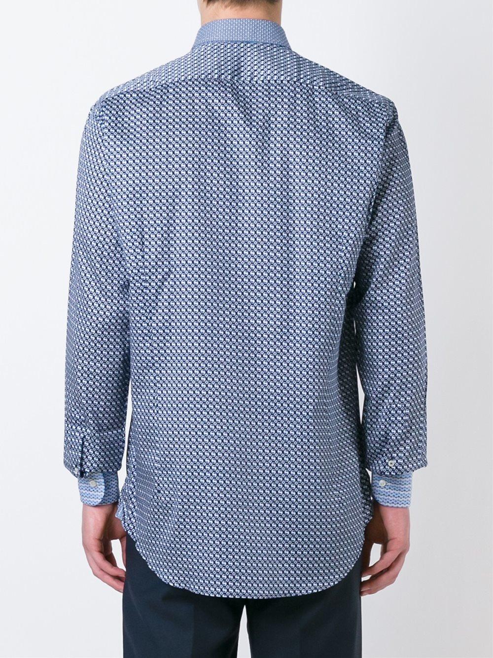Lyst etro geometric print shirt in blue for men for Etro men s shirts