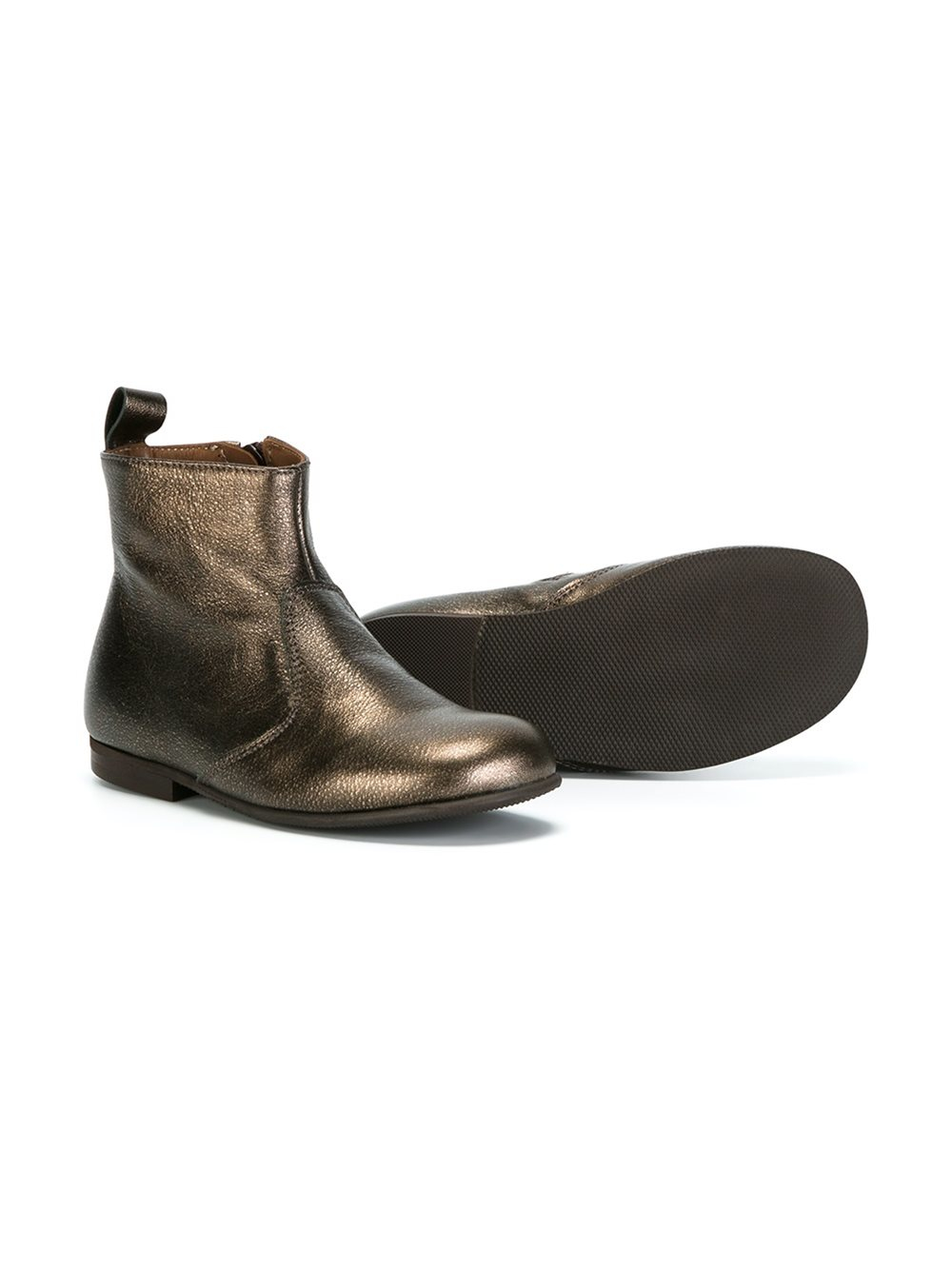 Pepe Jeans Leather Metallic Ankle Boots in Brown