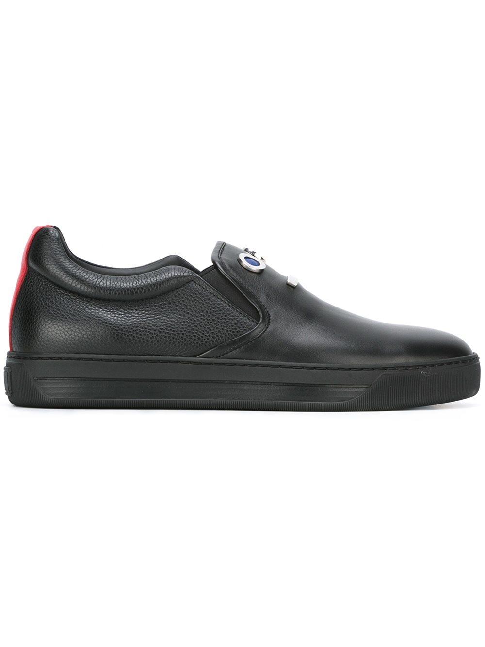 fendi appliqu 233 slip on sneakers in black for lyst