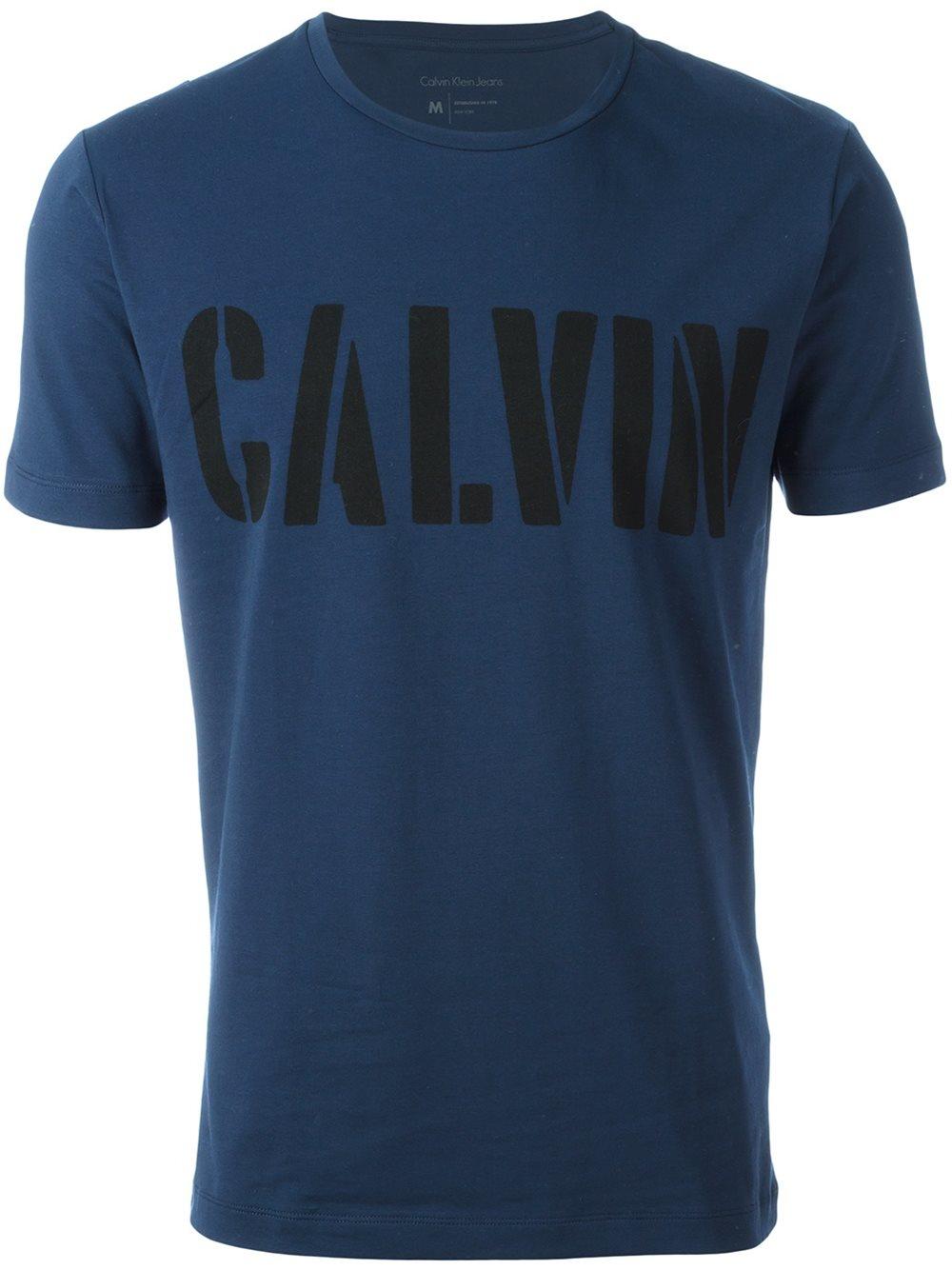Calvin klein jeans logo print t shirt in blue for men lyst for Lands end logo shirts