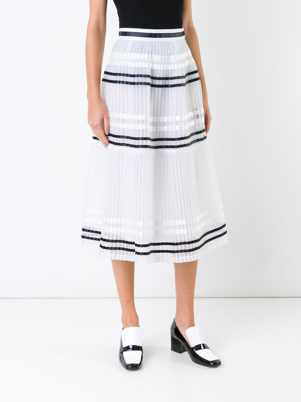 muveil striped pleated skirt in white lyst