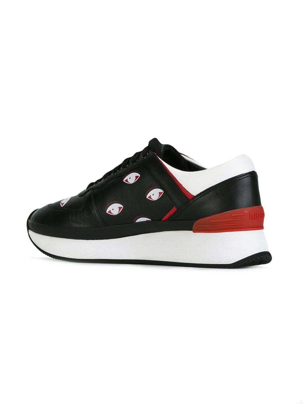 KENZO Leather 'k-run' Eyes Sneakers in Black