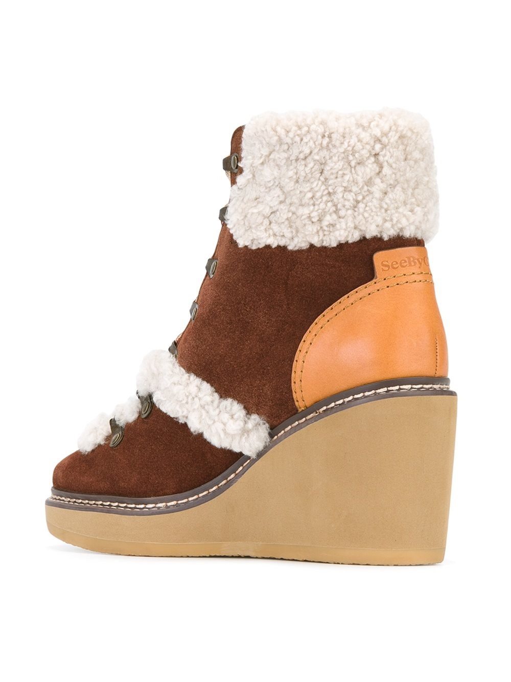 See By Chloé - 'eileen' Wedge Boots - Women - Leather/rubber - 39 in Brown