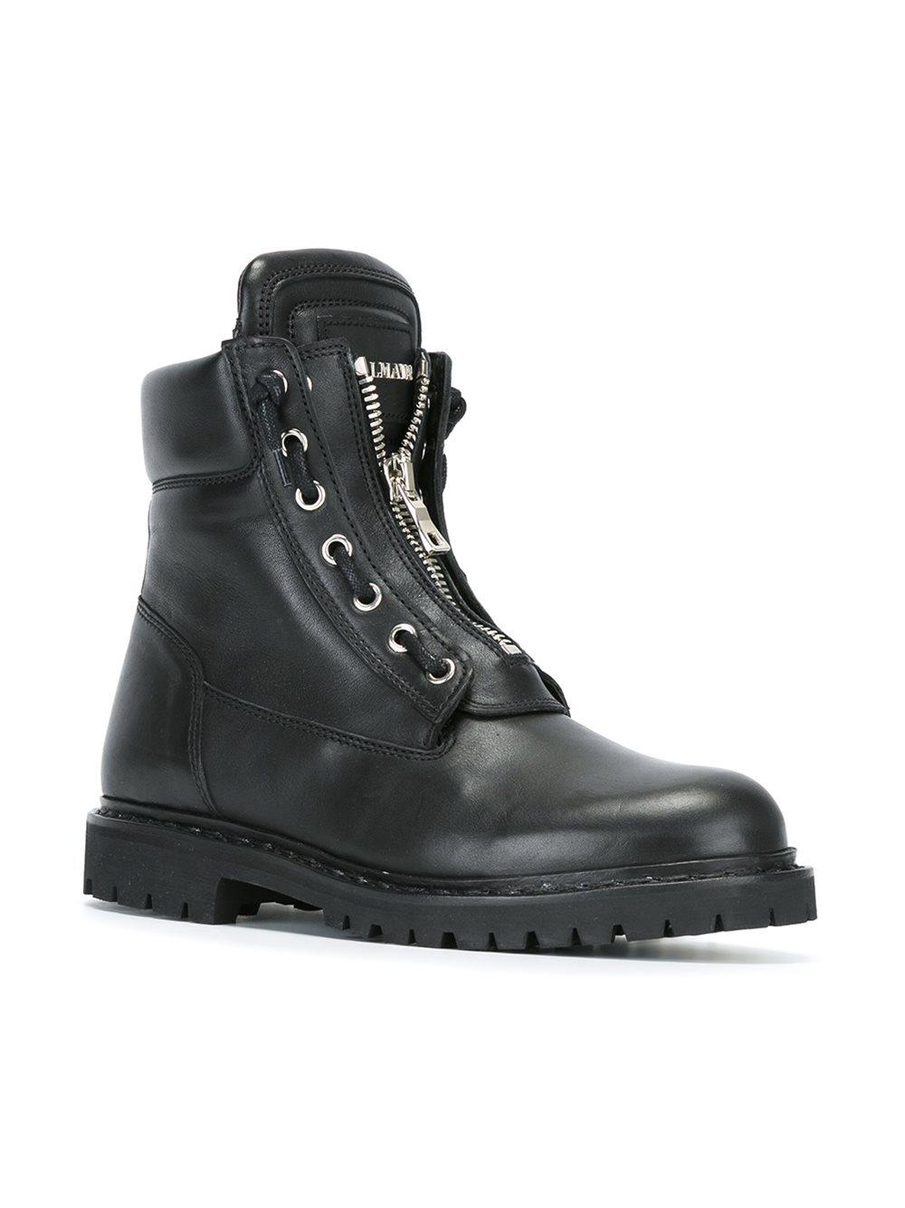 Balmain Leather Taiga Ranger Boots In Black For Men Lyst