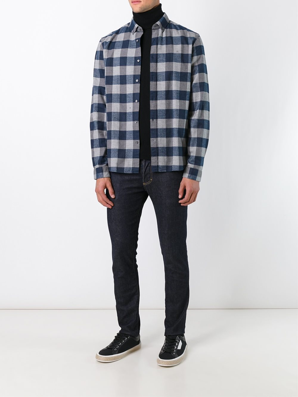 Lyst calvin klein jeans 39 galen 39 check flannel shirt in for Flannel shirt and jeans