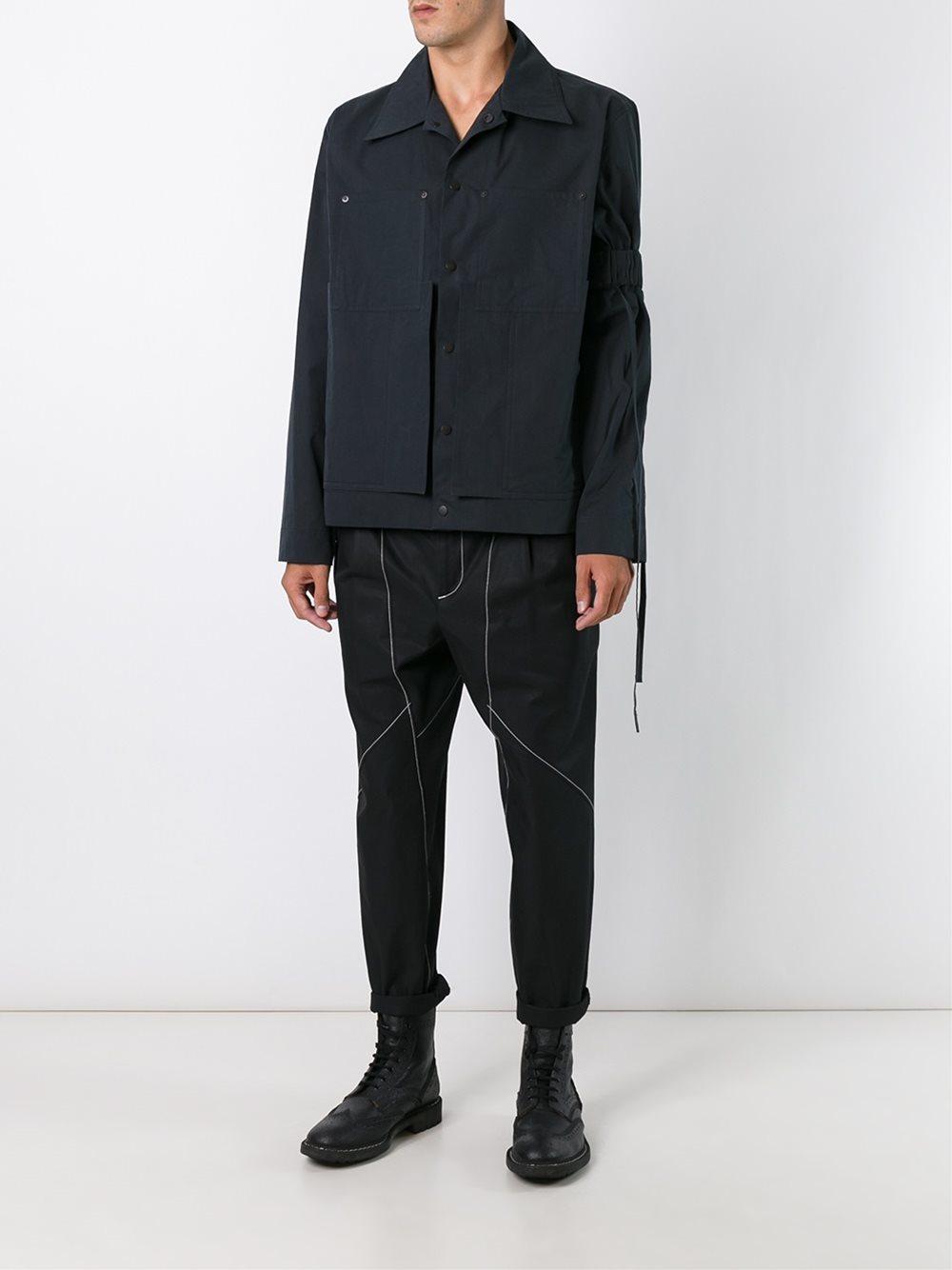 Lyst Bj 246 Rn Borg Sleeve Detail Jacket In Black For Men