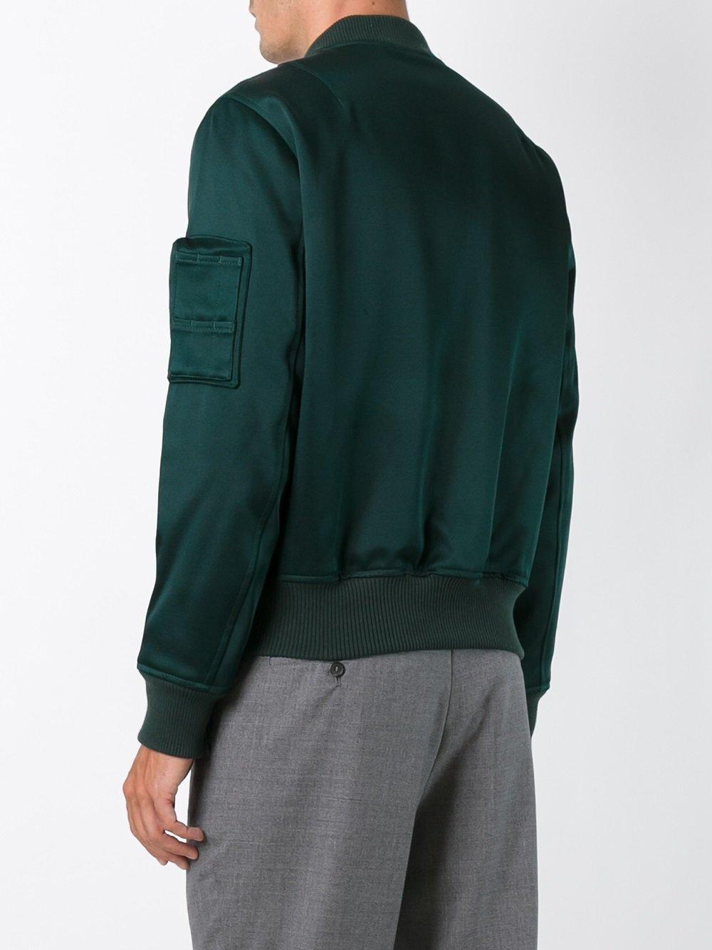 AMI Cotton Zipped Bomber Jacket in Green for Men