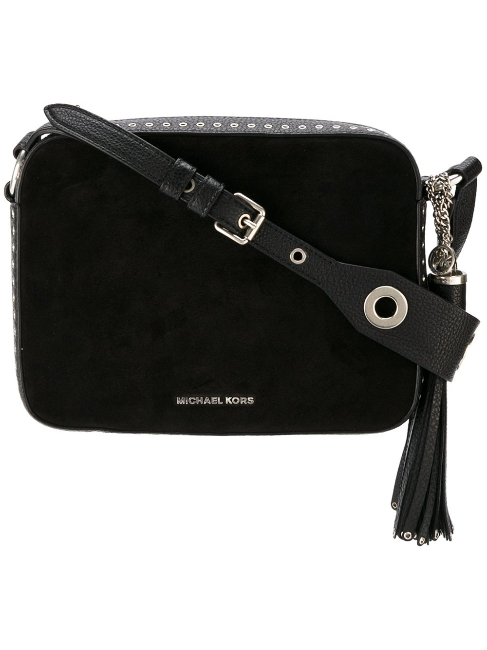 5a0c9d050a55 Lyst - MICHAEL Michael Kors Large Brooklyn Camera Suede and Leather ...