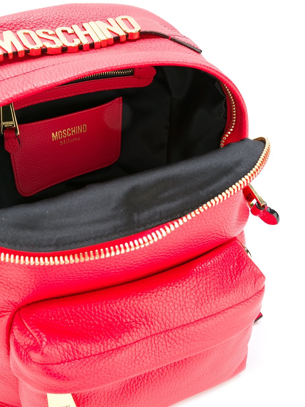 Moschino Leather Logo Plaque Backpack in Red