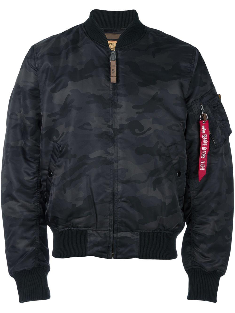 alpha industries camouflage flight jacket in black for men. Black Bedroom Furniture Sets. Home Design Ideas