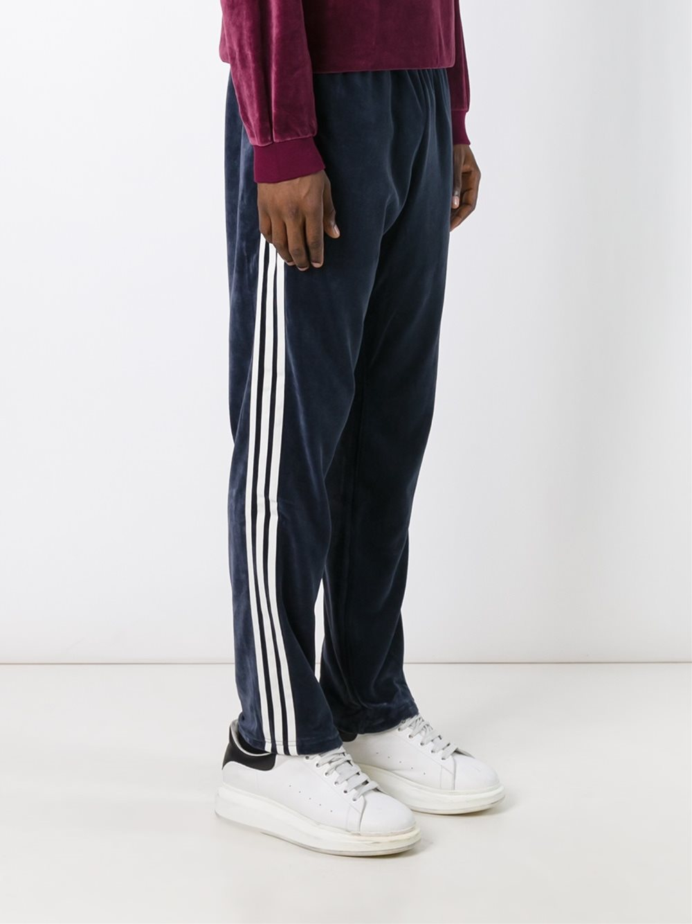 Adidas Originals Cotton Velour Track Pants In Blue For Men Lyst