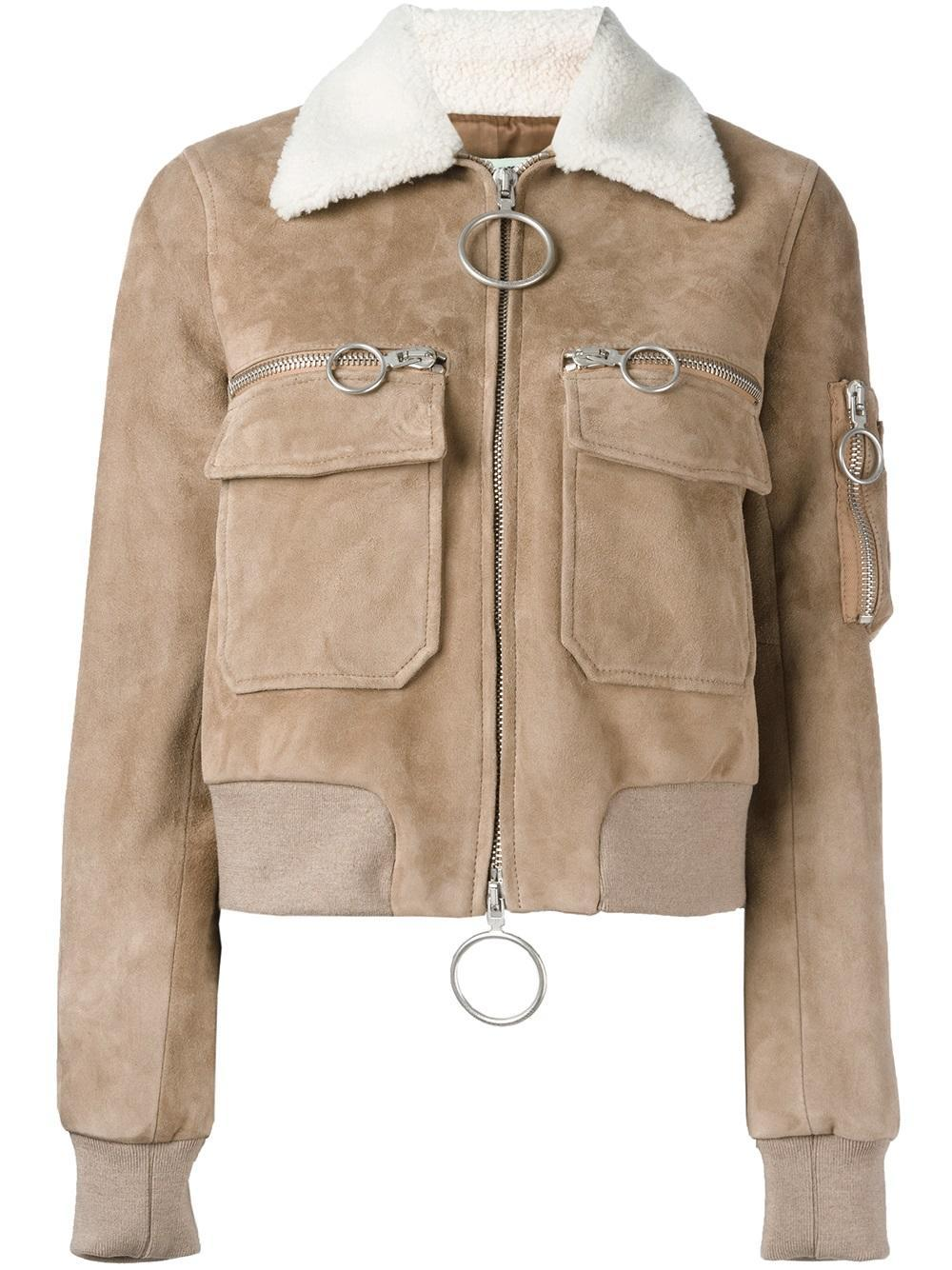 ffe50e043ee Lyst - Off-White c o Virgil Abloh Aviator Suede and Shearling Bomber ...