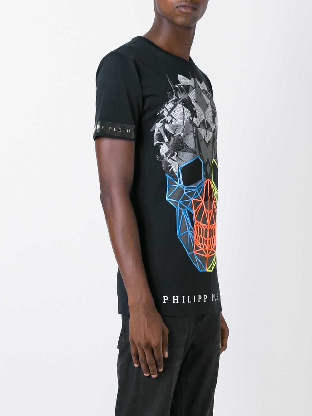 Lyst Philipp Plein Rainbow Colors T Shirt In Black For Men