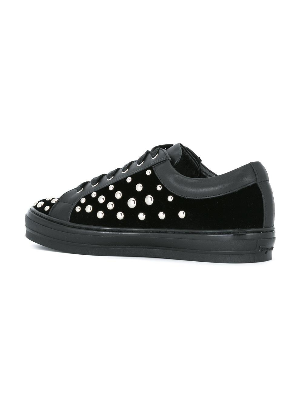 Ferragamo Leather 'liu Rock' Sneakers in Black
