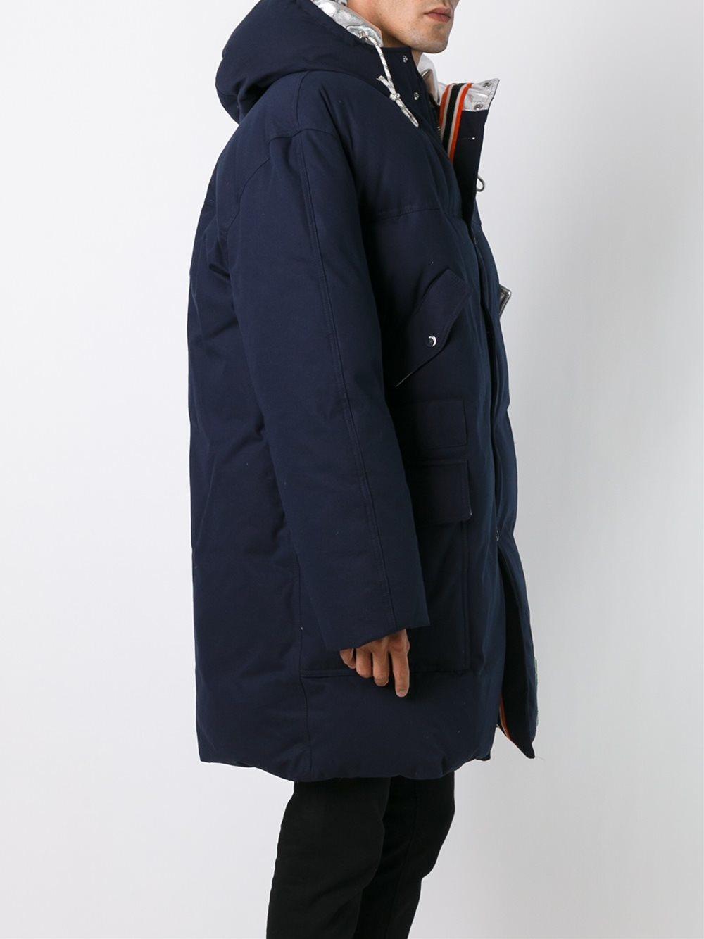 Lyst Raf Simons High Neck Padded Coat In Blue For Men