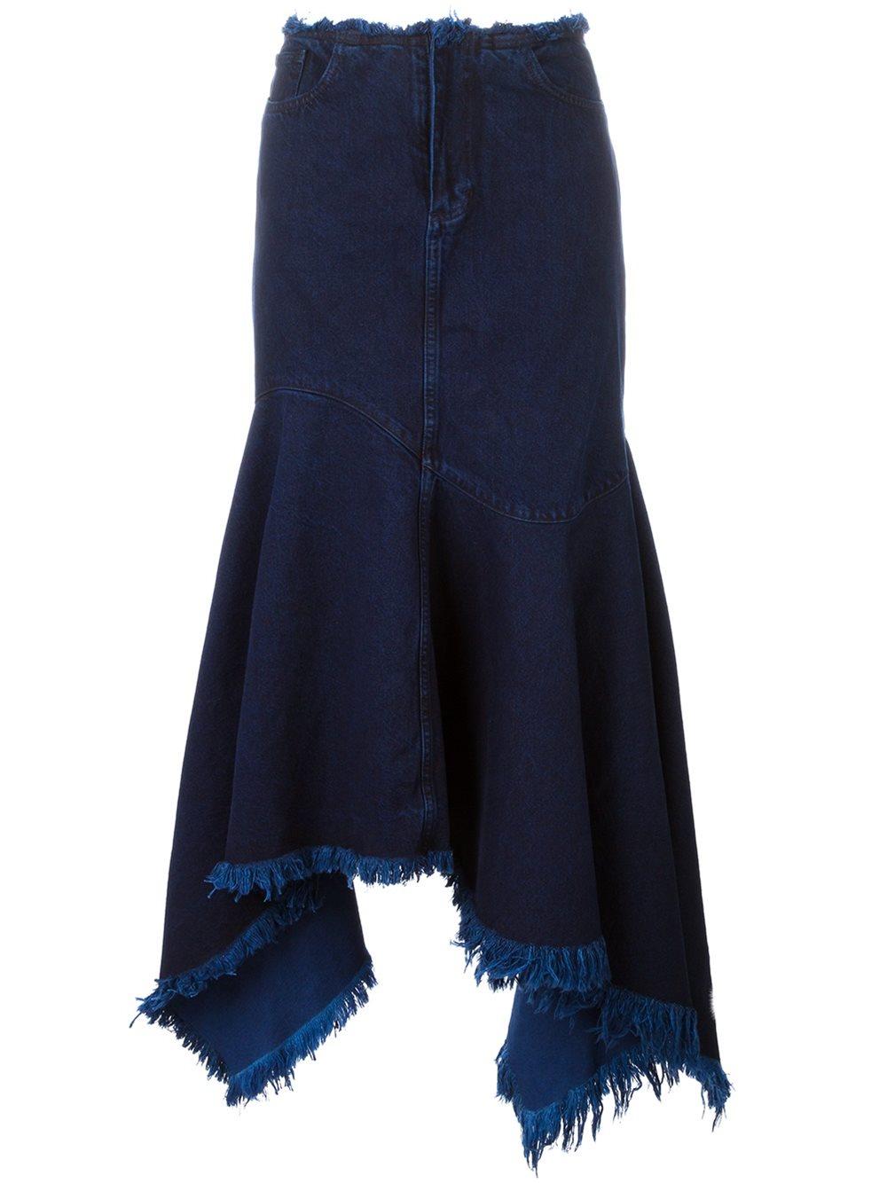 marques almeida frayed asymmetric denim skirt in blue lyst