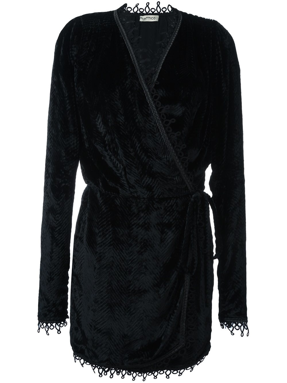 Attico Velvet Wrap Dress In Black Lyst