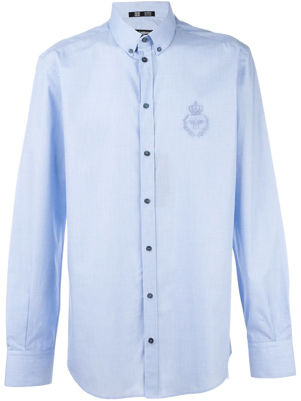 Dolce gabbana crown bee embroidered shirt in blue for