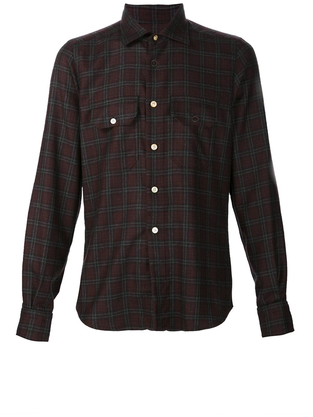 kiton plaid button down shirt in red for men lyst