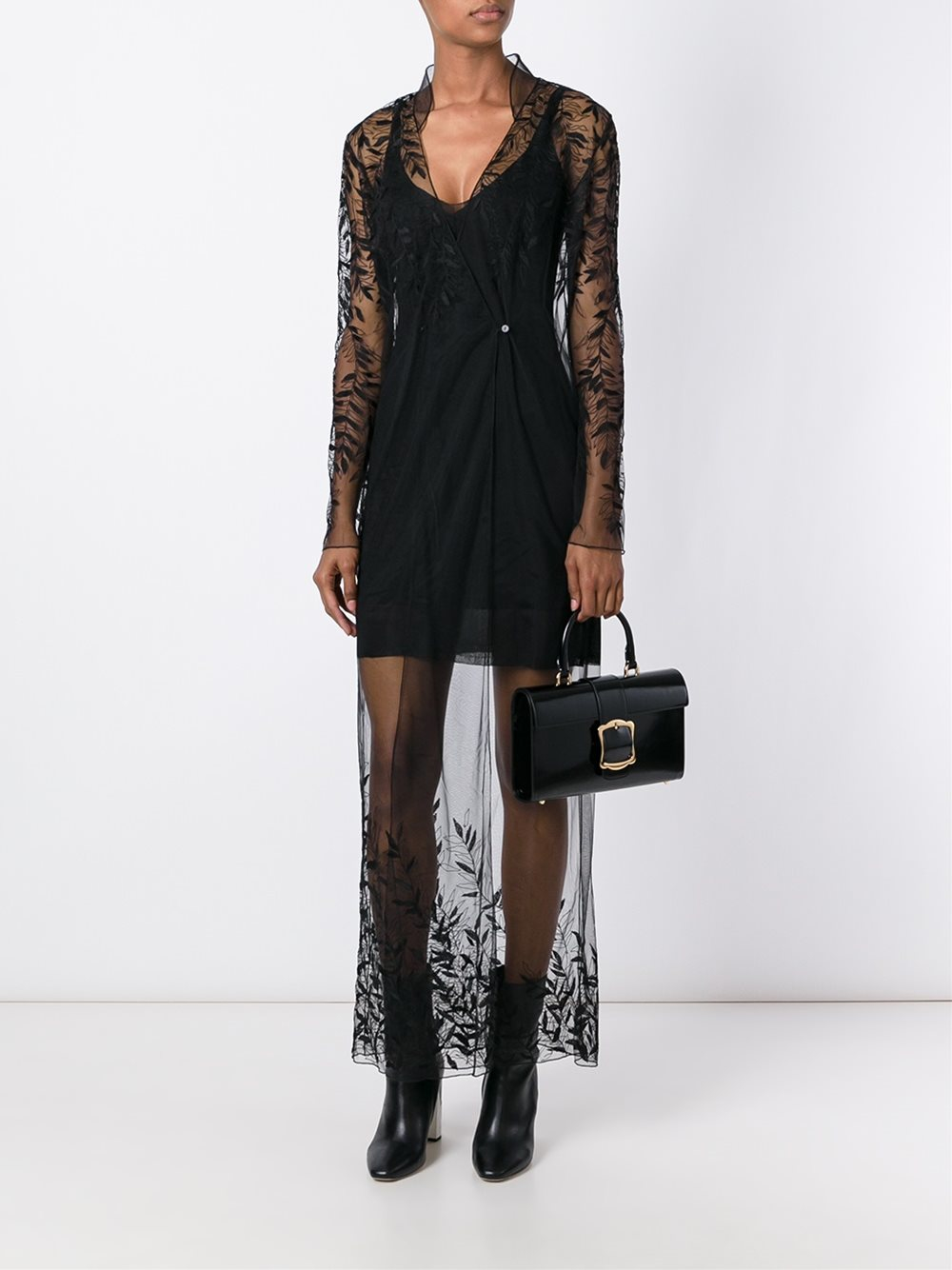 Attico Sheer Lace Overlay Dress In Black Lyst