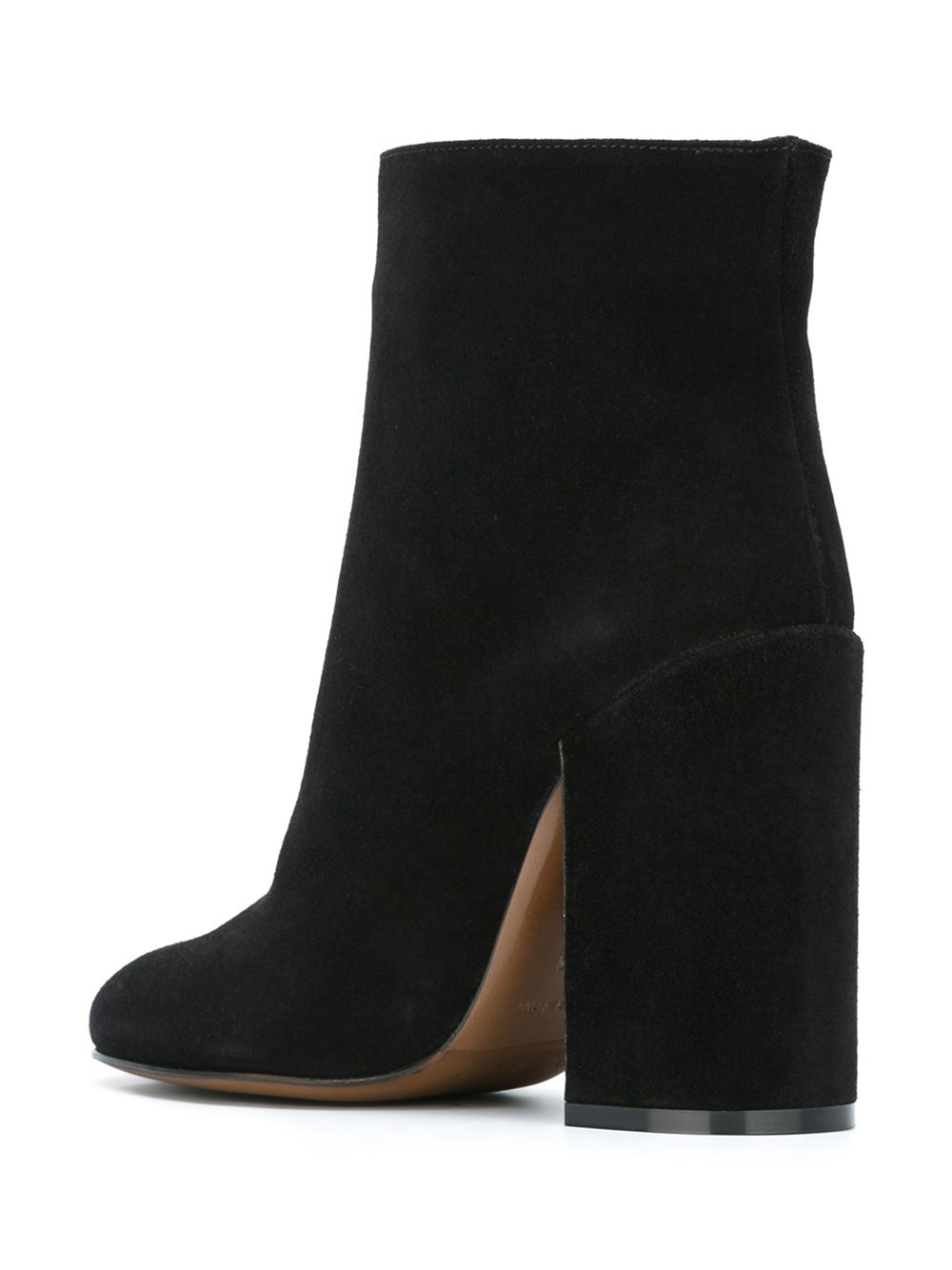 L'Autre Chose Leather Chunky Heel Ankle Boots in Black