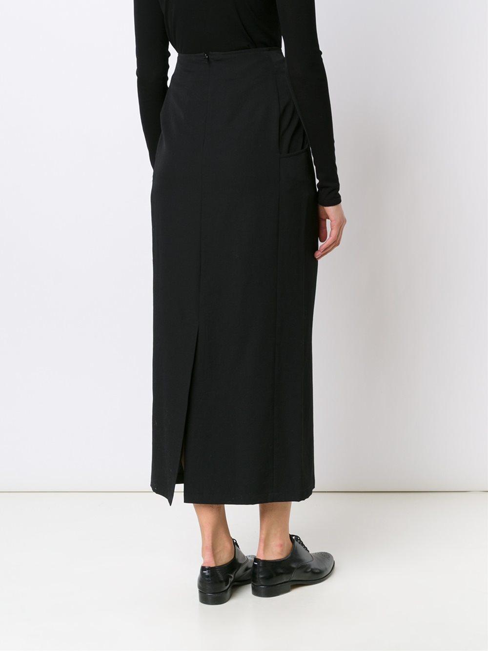 Yohji yamamoto Long Straight Skirt in Black | Lyst