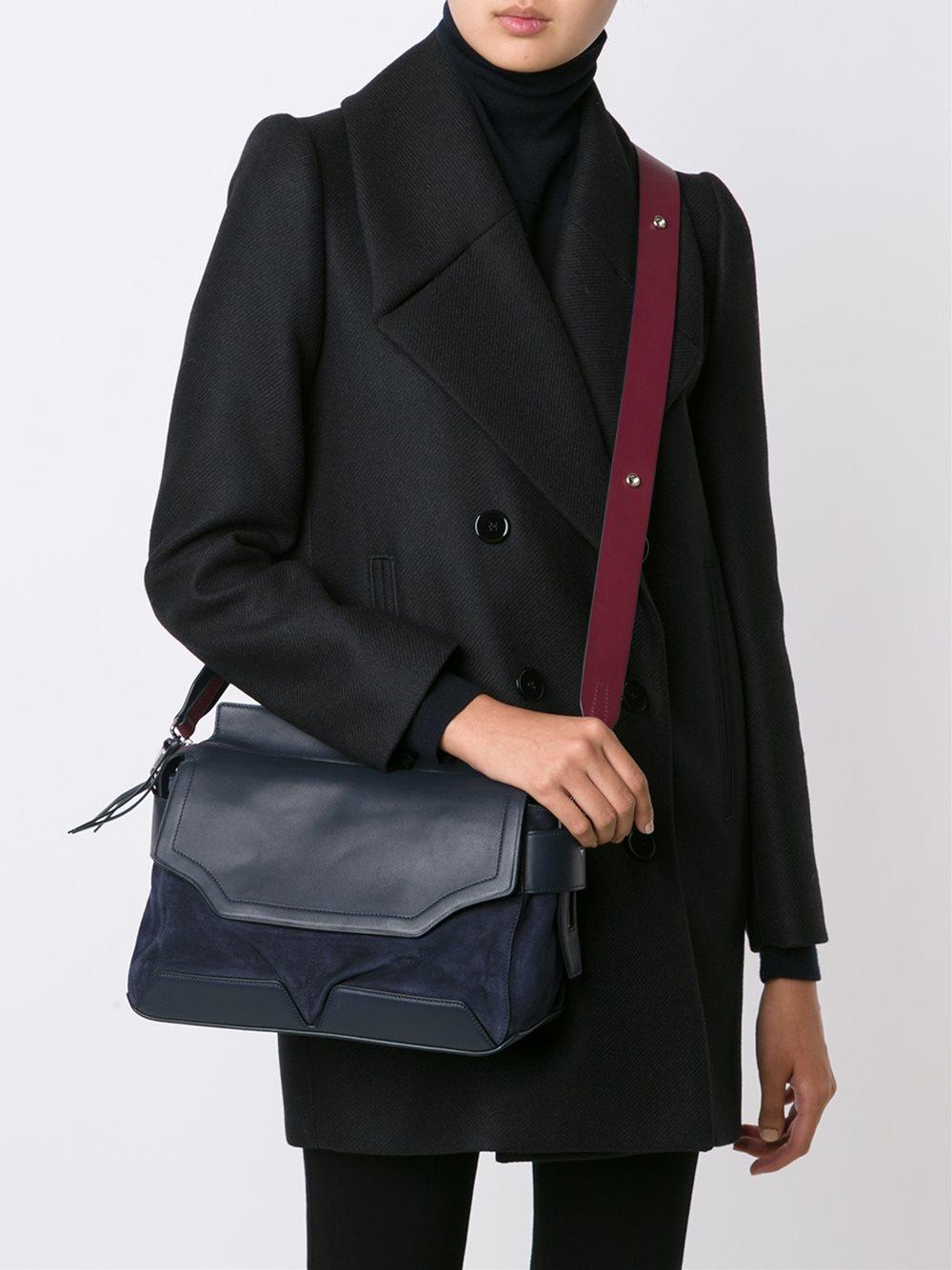 Rag & Bone Leather Flap Closure Tote Bag in Blue