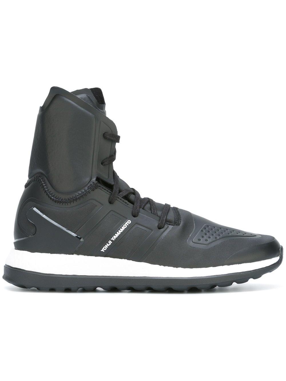 lyst y 3 pureboost zg hi top sneakers in black for men. Black Bedroom Furniture Sets. Home Design Ideas