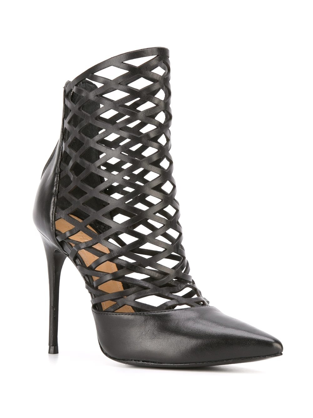 Schutz Leather Laser-cut Boots in Black (Natural)