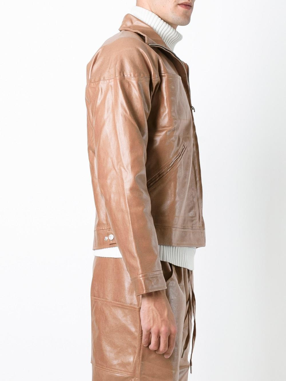 Telfar Dropped Shoulder Denim Jacket in Brown for Men