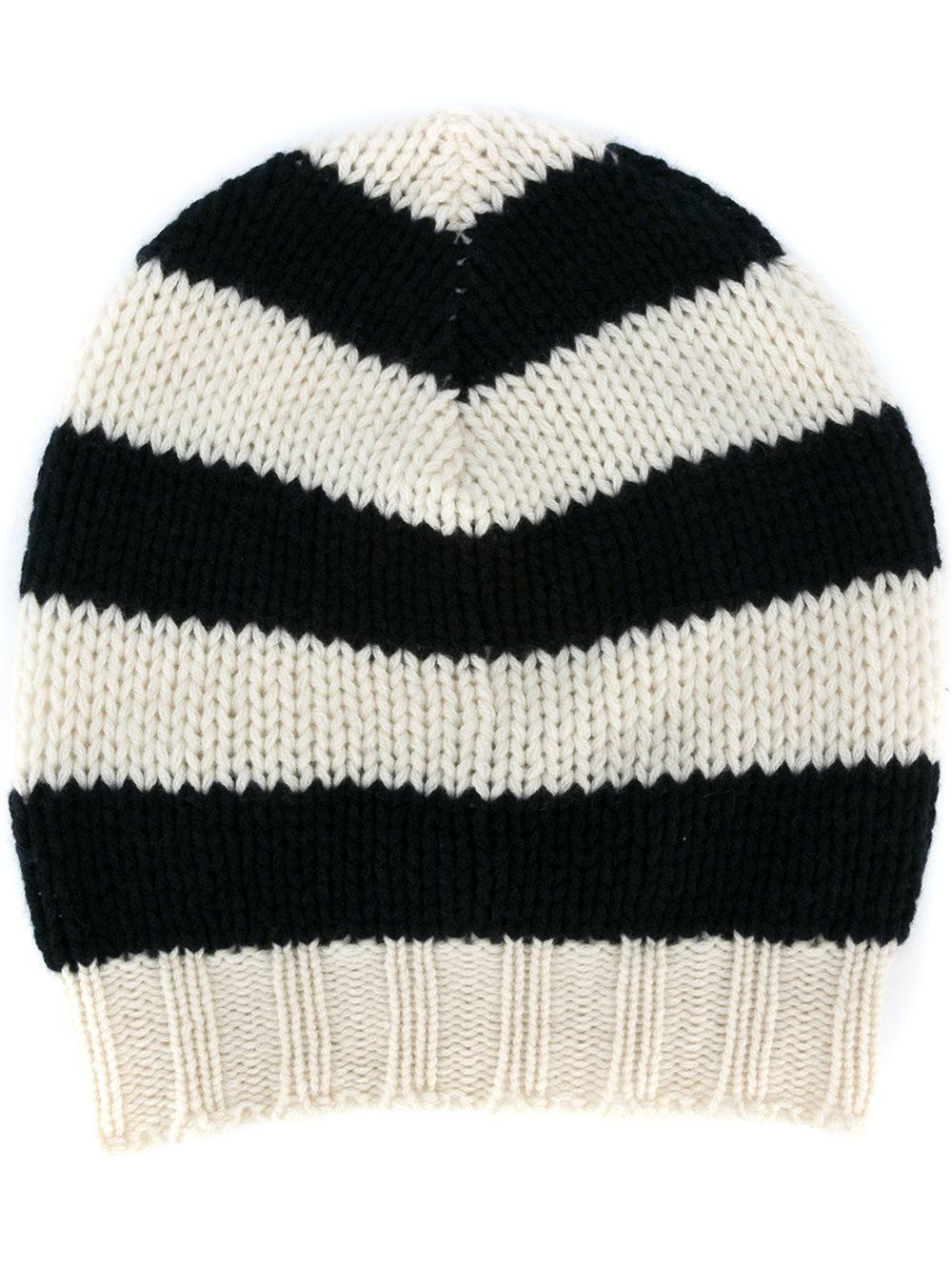Ermanno scervino Striped Knit Beanie in Black Lyst