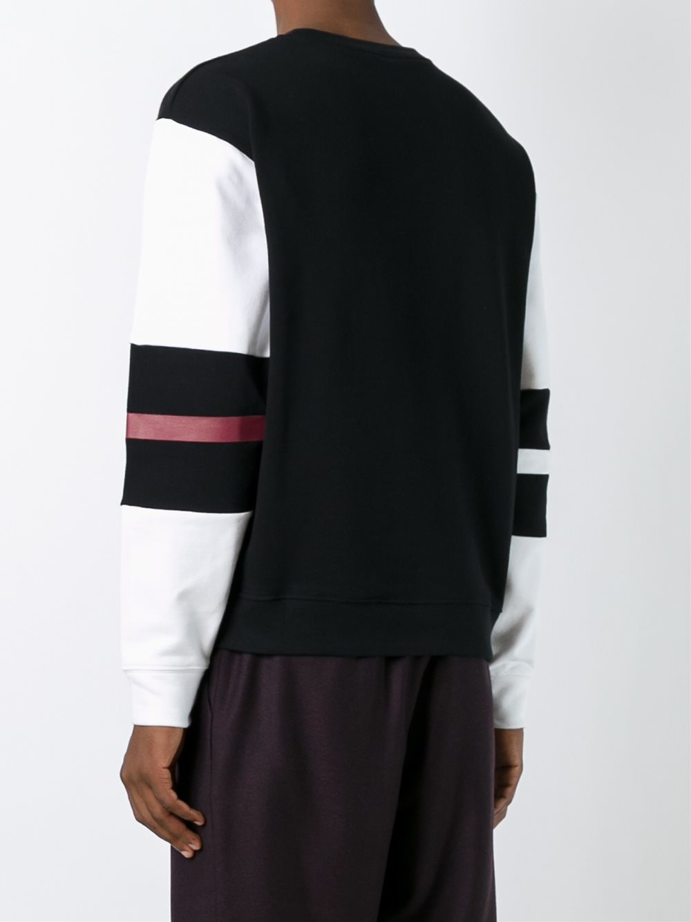 Mcq red line print sweatshirt in black for men lyst for Red line printing