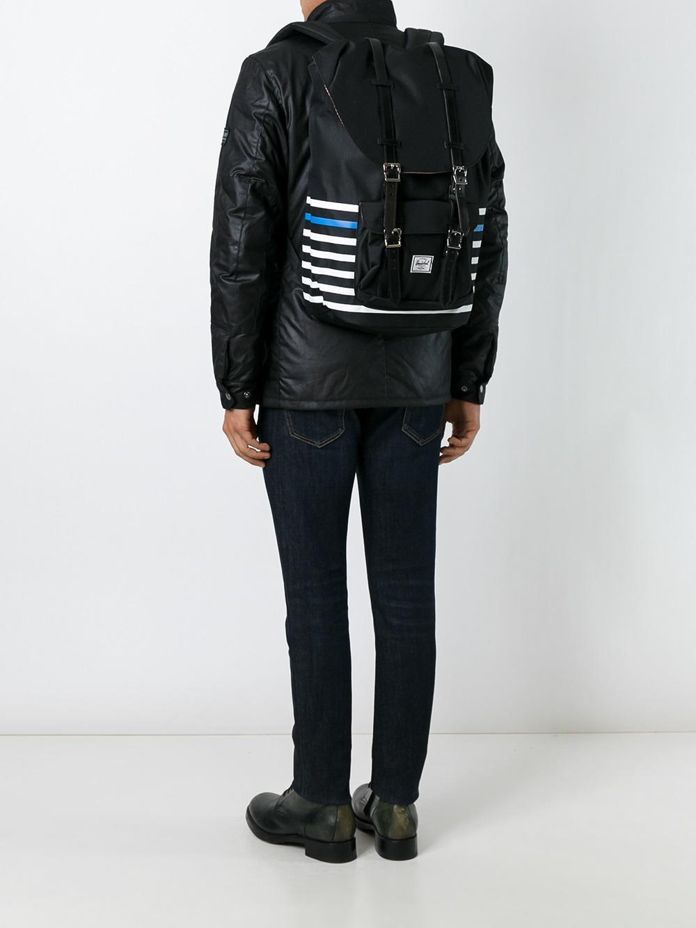 Herschel Supply Co. Leather Double Strap Striped Backpack in Black for Men