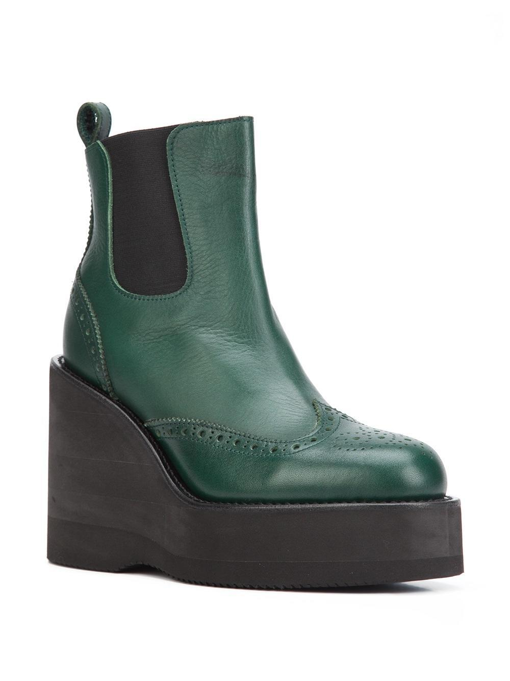 Sacai Leather Platform Wedge Boots in Green