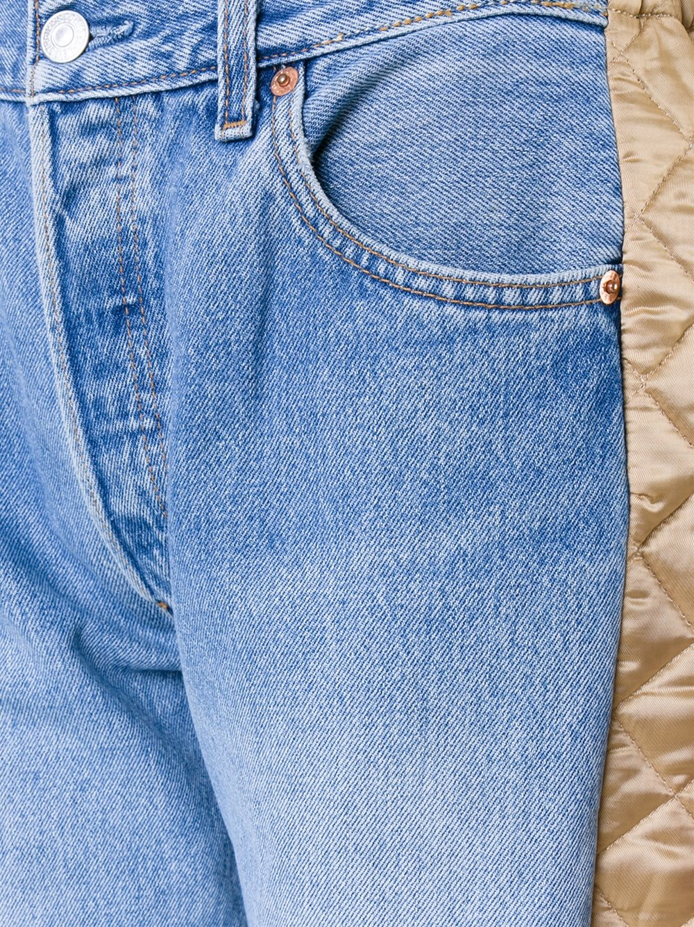 Bless Denim Quilted Panel Jeans in Blue