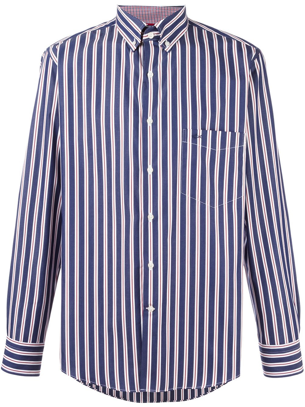 Paul shark striped button down shirt in blue for men lyst for Red and white striped button down shirt
