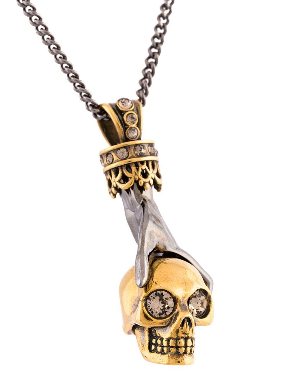 Alexander McQueen Hand And Skul Pendant Necklace in Metallic