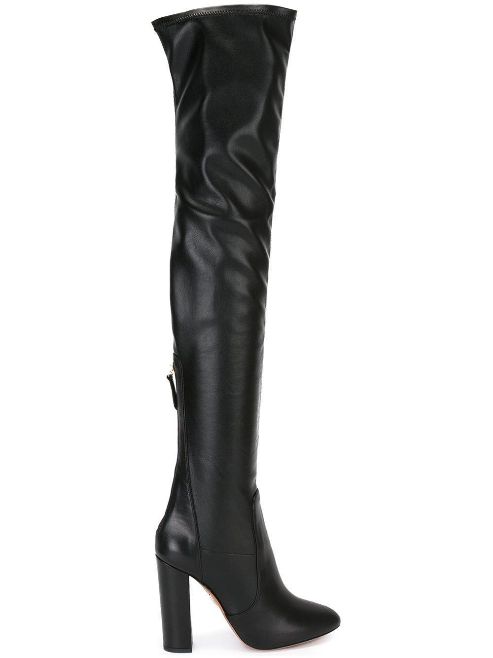 aquazzura high thigh high boots in black lyst