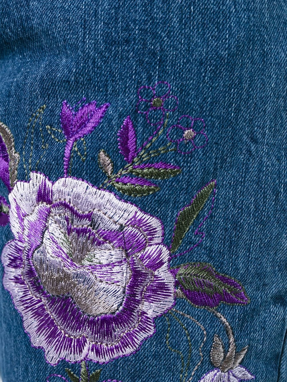 Aries Denim Embroidered High-waisted Jeans in Blue