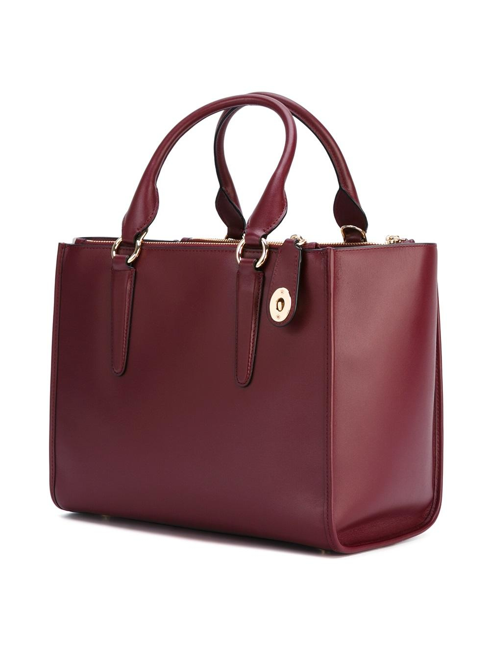 COACH Leather 'crosby Carryall' Tote in Red